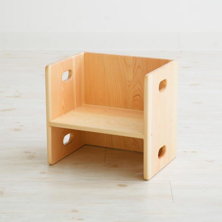 ヒノキの変化いす 子ども家具